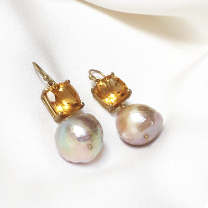 JOANN SMYTH CITRINE AND BAROQUE PEARLS