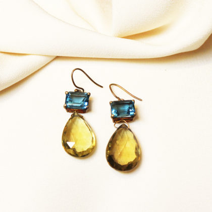 Joann Smyth BLUE TOPAZ AND GREEN BERYL Earrings