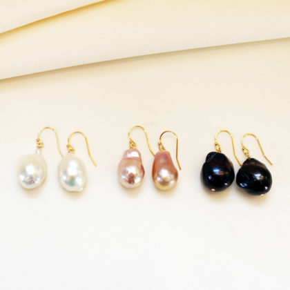 Joann Smyth Large Freshwater Pearl Earrings with Gold Vermeil