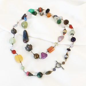 Multi Stone Sterling Silver Necklace | Joann Smyth Pearls and Fine Jewelry