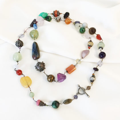 Multi Stone Sterling Silver Necklace   Joann Smyth Pearls and Fine Jewelry